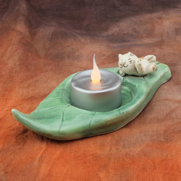 Tea Light Candle Holder ~ Green ~ Cat