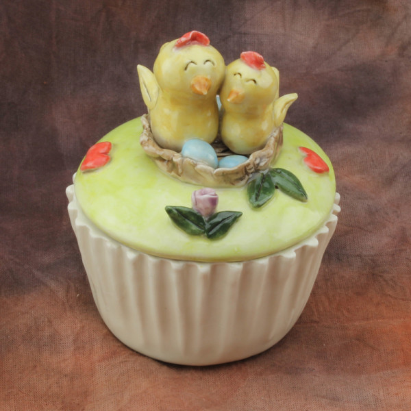 Cup Cake Container ~ Love Birds