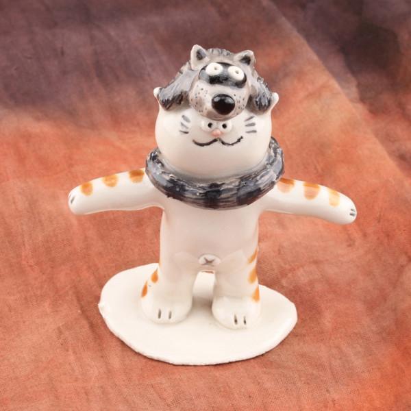 Raccoon Hat Figurine ~ Cat