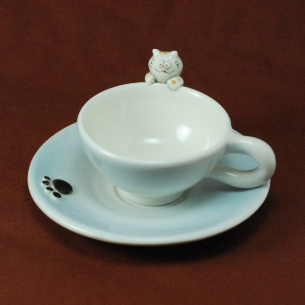 Cup and Saucer ~ Blue ~ Cat