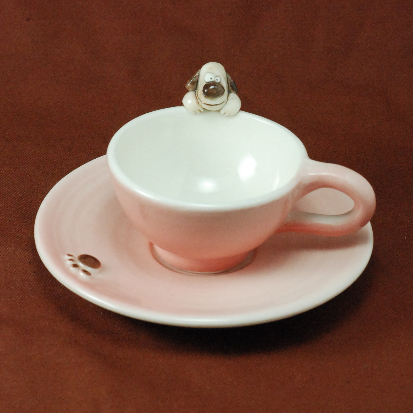 Cup and Saucer ~ Pink ~ Dog
