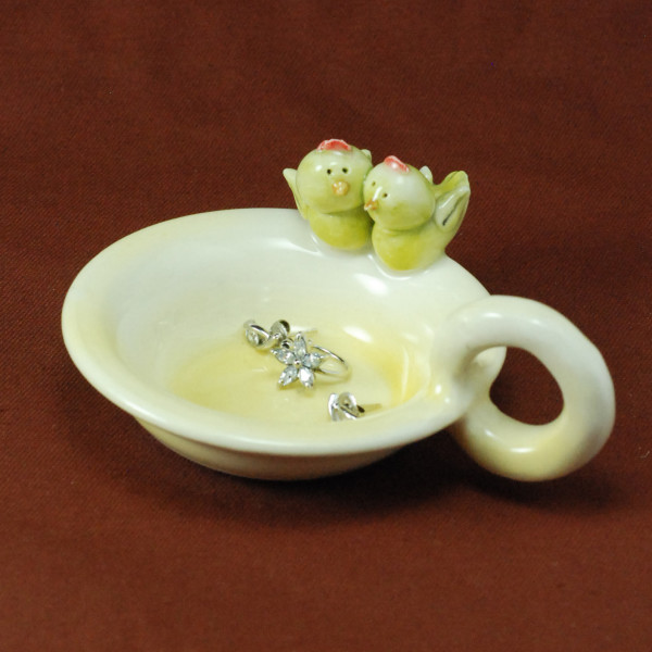 Tea Light Candle Holder ~ Yellow ~ Birds