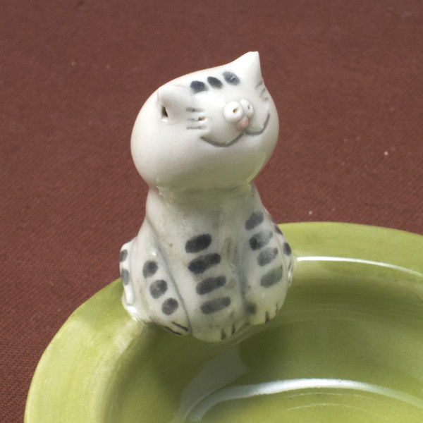 Tea Light Candle Holder ~ Green ~ Cat