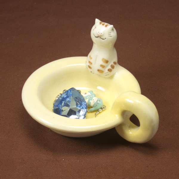 Tea Light Candle Holder ~ Yellow ~ Cat