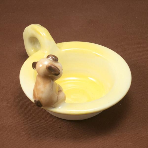 Tea Light Candle Holder ~ Yellow ~ Dog