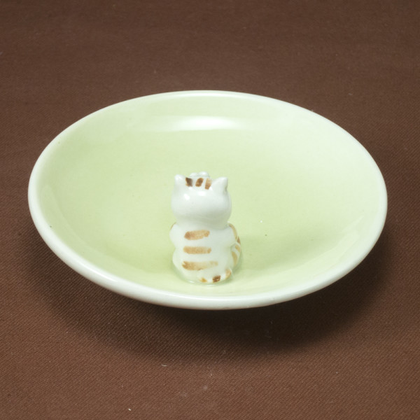 Small Plate ~ Green ~ CatSmall Plate ~ Green ~ Cat